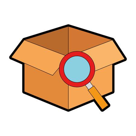 Casella con lente di ingrandimento isolato icona illustrazione vettoriale. Archivio Fotografico - 88423249