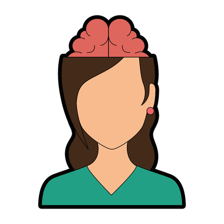 Woman with brain avatar character vector illustration design.