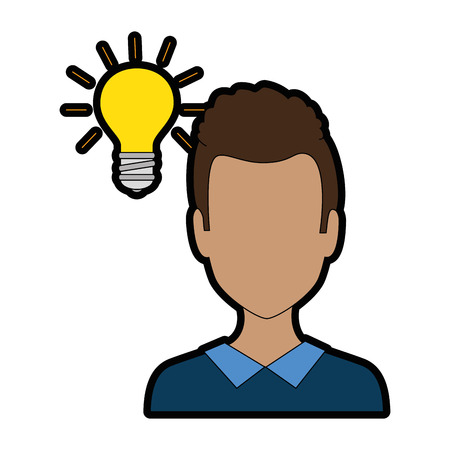 Young man with bulb avatar character vector illustration design.
