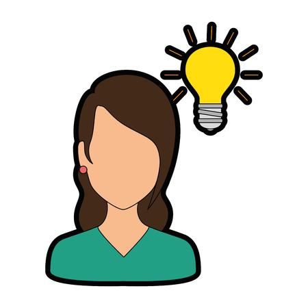 smart girl: Beautiful woman with bulb avatar character vector illustration design. Illustration