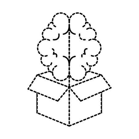 Box with brain organ isolated icon vector illustration design.