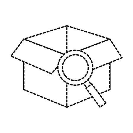 Scatola con progettazione dell'illustrazione di vettore dell'icona isolata lente d'ingrandimento Archivio Fotografico - 88426151