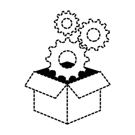 Box with gears machine vector illustration design.