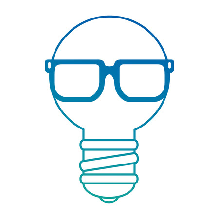 Bulb light with sunglasses vector illustration design. Illustration