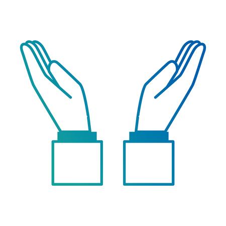 Overhandigt het menselijke het beschermen ontwerp van de pictogram vectorillustratie.