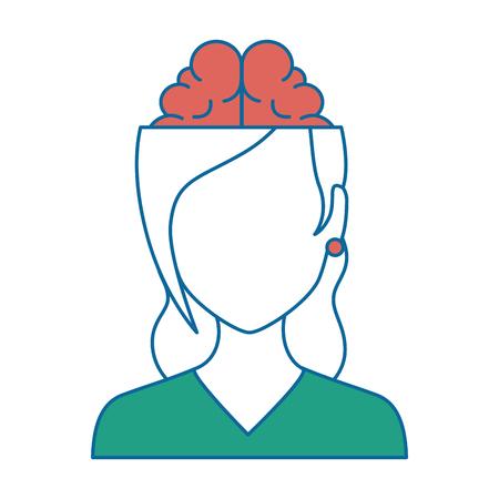 Mujer con diseño del ejemplo del vector del carácter del avatar del cerebro.