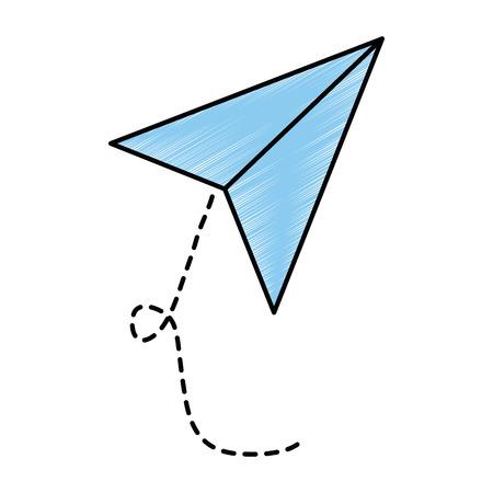 airplane paper flying icon vector illustration design