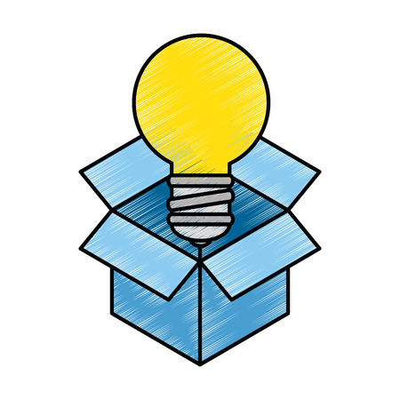 box with bulb light isolated icon vector illustration design