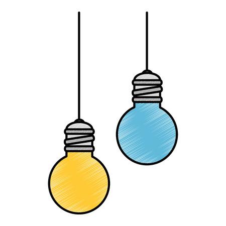 bulbs light hanging icon vector illustration design