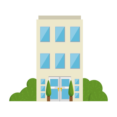 building front isolated icon vector illustration design 向量圖像