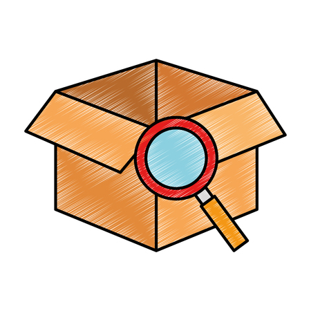 box with magnifying glass isolated icon vector illustration design