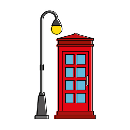 antique booth: phone booth with park lantern vector illustration design