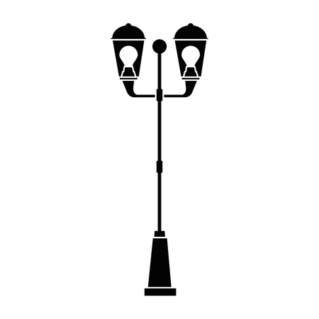 Park lantern on white background, vector illustration. Çizim
