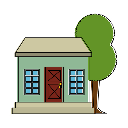 mansion front with tree vector illustration design Illustration