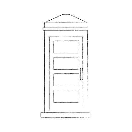 Diseño aislado de la ilustración del vector del icono de la cabina de teléfono Foto de archivo - 88414999