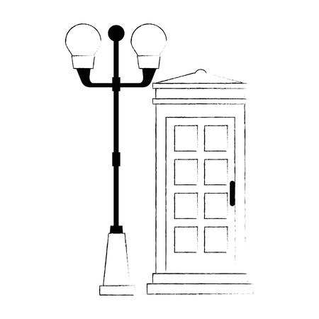 Cabina de teléfono con diseño de ilustración de vector de linterna del parque Foto de archivo - 88415000
