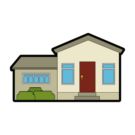 mansion front isolated icon vector illustration design
