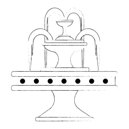 Progettazione dell'illustrazione di vettore dell'icona della fontana dell'acqua del parco Archivio Fotografico - 88415023