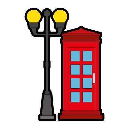 Cabina de teléfono con diseño de ilustración de vector de linterna del parque Foto de archivo - 88410857