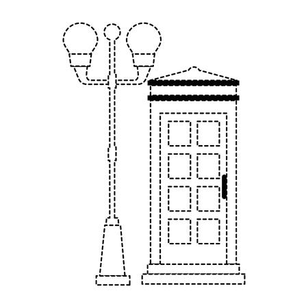 Cabina de teléfono con diseño de ilustración de vector de linterna del parque Foto de archivo - 88415125