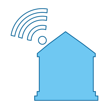 House silhouette with wifi signal vector illustration design