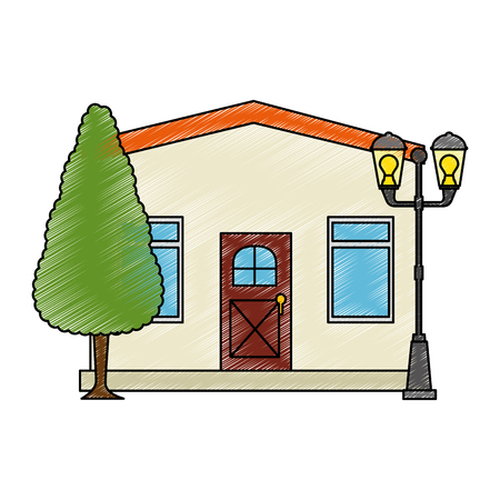 Mansion front with tree vector illustration design Ilustrace