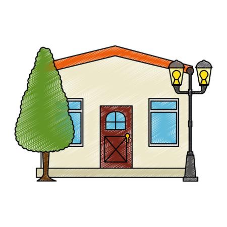 Mansion front with tree vector illustration design Ilustração