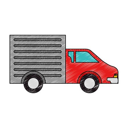 Aflevering vrachtwagen geïsoleerd pictogram vector illustratie ontwerp