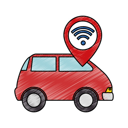 car vehicle with wireles internet signal vector illustration design