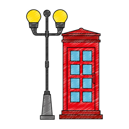 phone booth with park lantern vector illustration design