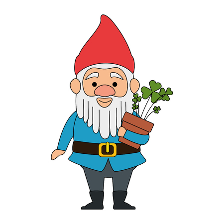 cute gnome with clovers plant character vector illustration design