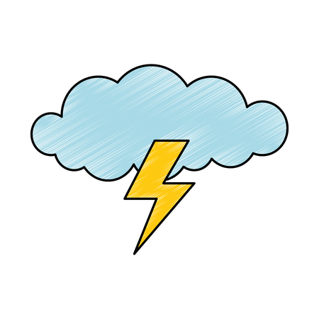 cloud with rays storm vector illustration design