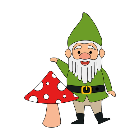 cute gnome with mushroom character vector illustration design