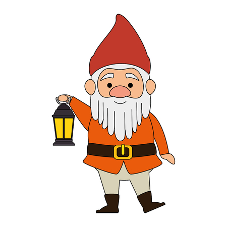 cute gnome with miner lamp character vector illustration design Ilustracja