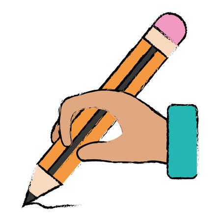 mano humana con diseño de ilustración de vector de icono de escuela lápiz aislado