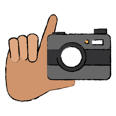 Hand with camera photographic isolated icon vector illustration design Çizim