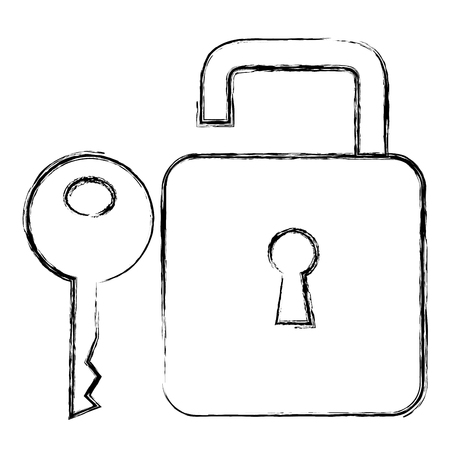 A secure padlock with key vector illustration design
