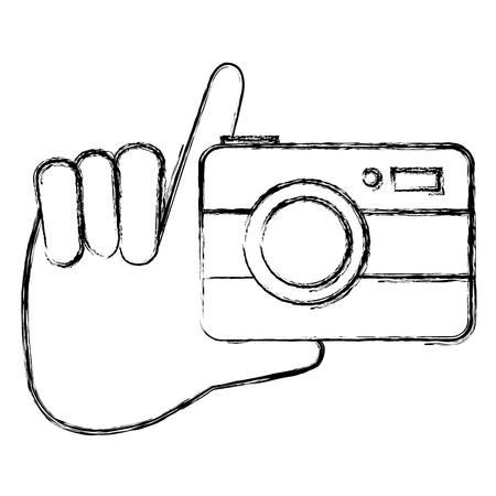 Hand holding camera isolated icon vector illustration design
