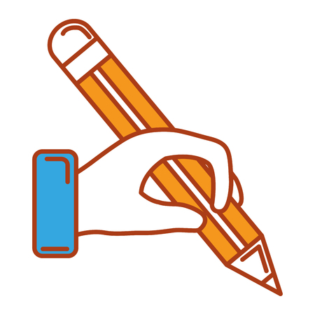 Hand with pencil isolated icon vector illustration design