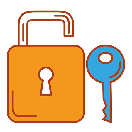 Colored padlock with key vector illustration design