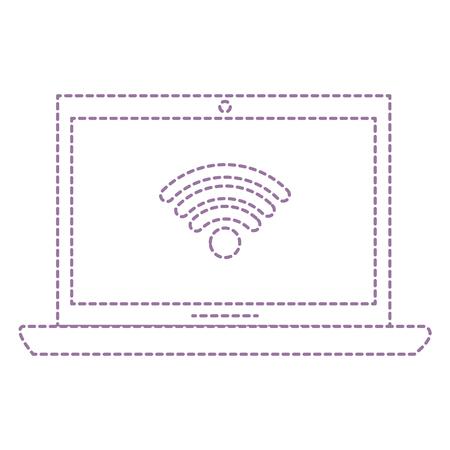 무선 인터넷 신호 벡터 일러스트 디자인 노트북 컴퓨터