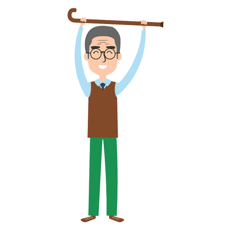 grandfather with cane avatar character vector illustration design Çizim
