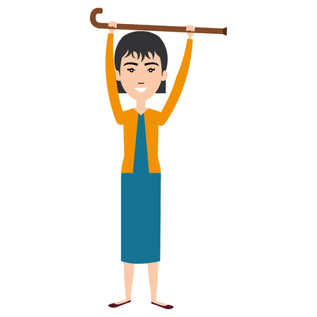 grandmother with cane avatar character vector illustration design