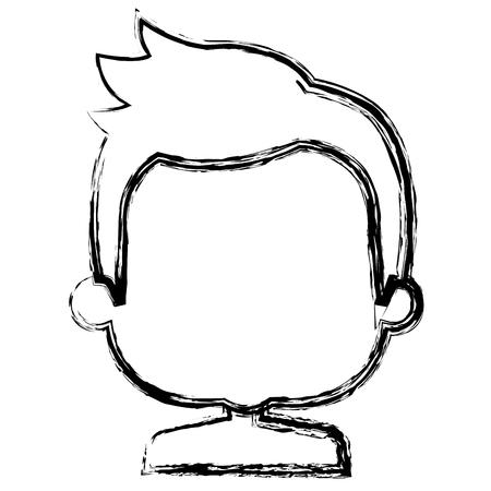 小さな少年上半身裸アバターの文字ベクトル イラスト デザイン