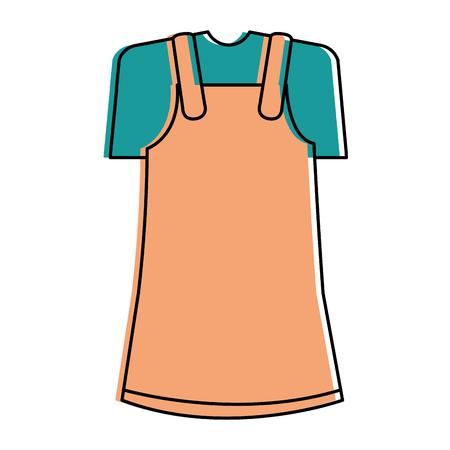 작은 소녀 옷 격리 된 아이콘 벡터 일러스트 디자인 스톡 콘텐츠 - 88418435