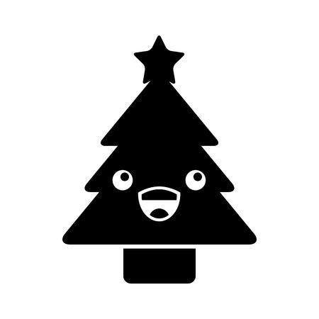 Kawaii christmas tree pine decoration cartoon vector illustration