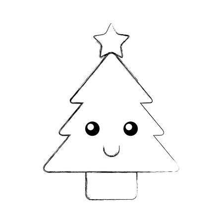 kerstboom pine decoratie cartoon vectorillustratie