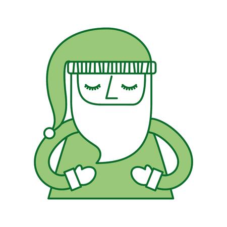 portrait santa claus hat decoration design vector illustration