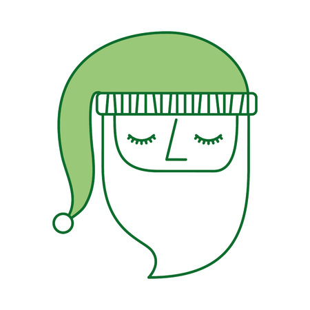 christmas santa claus face hat ornament vector illustration