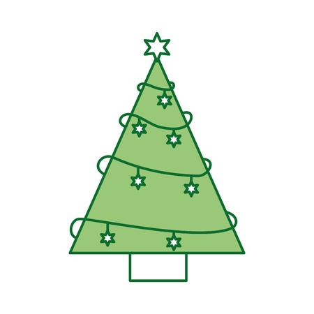 クリスマス ツリー松星飾り飾りデザイン ベクトル図  イラスト・ベクター素材
